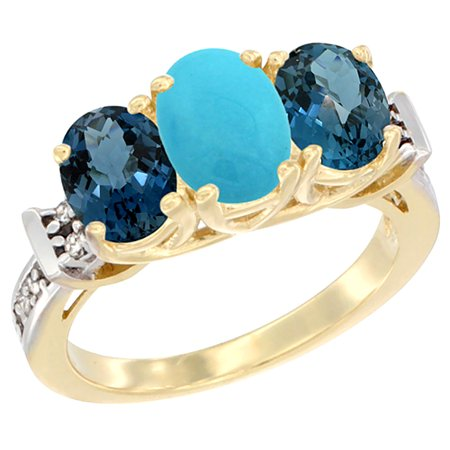 10K Yellow Gold Natural Turquoise & London Blue Topaz Sides Ring 3-Stone Oval Diamond Accent, sizes 5 - 10