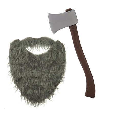 Lumberjack Grey Beard With Plastic Toy Fireman Firefighter Ax Axe Costume Set - Good Halloween Costume With Beard