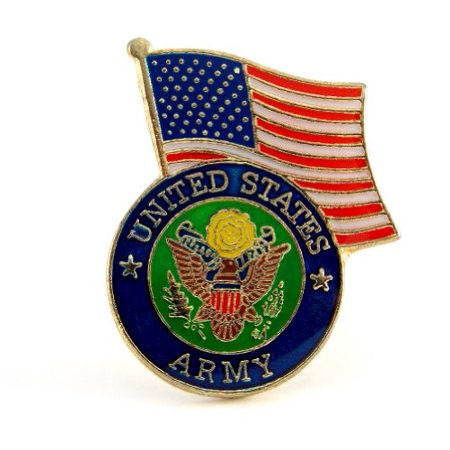 US Army Insignia With USA Flag Lapel Hat Pin Gift Military PPM652 (1 pin) (Cheap Lapel Pins)