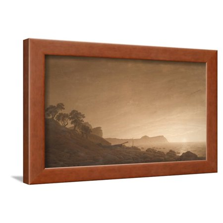 View of Arkona with Rising Moon, Ca 1806 Framed Print Wall Art By Caspar David Friedrich
