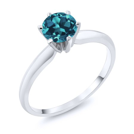 14K White Gold 0.75 Ct London Blue Topaz Solitaire Ring