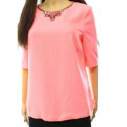 Ted Baker NEW Pink Size 3 Junior Embellished Neck Seamed Blouse $198
