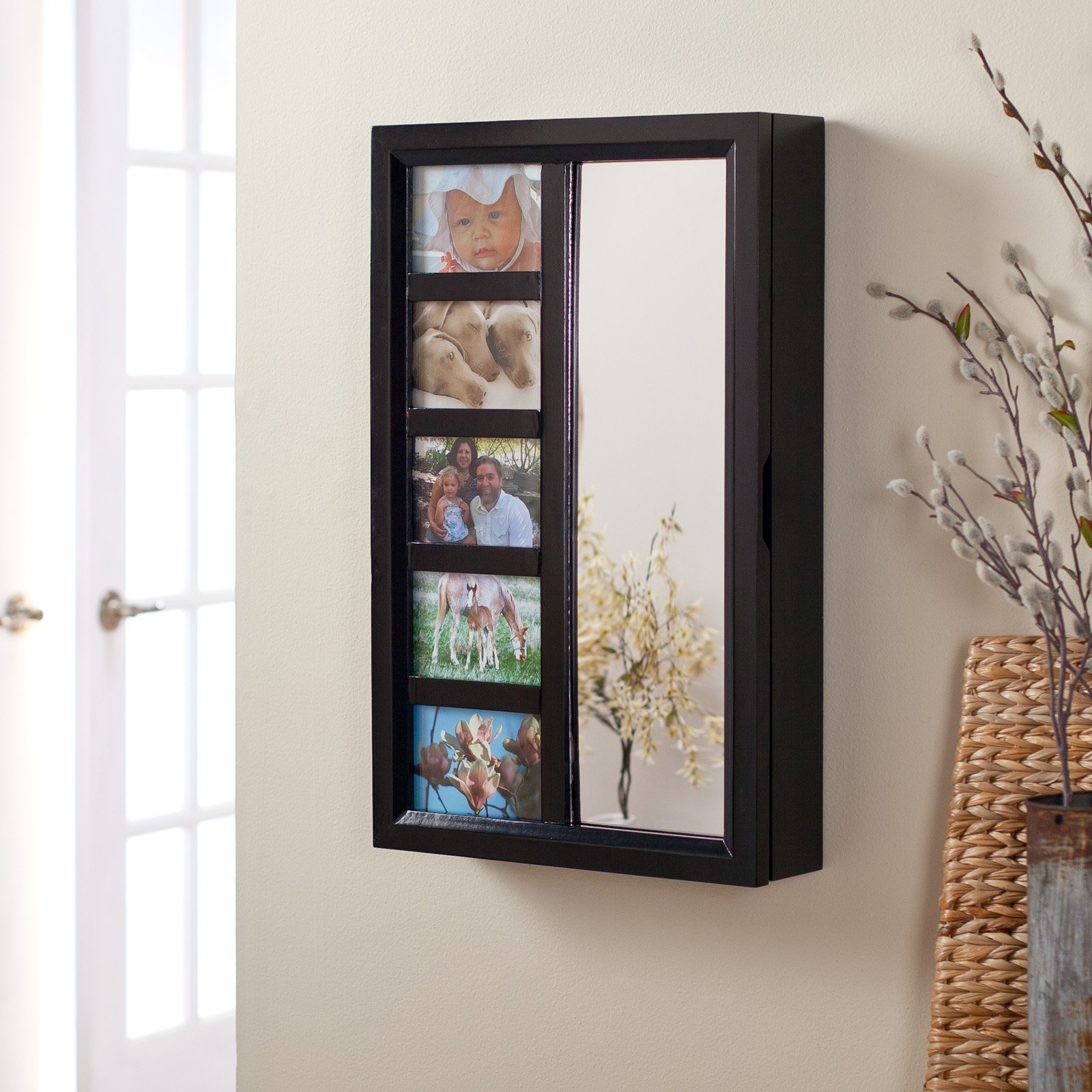 Wall Mirror Jewelry Box collage photo frame wooden wall locking jewelry armoire - 23w x