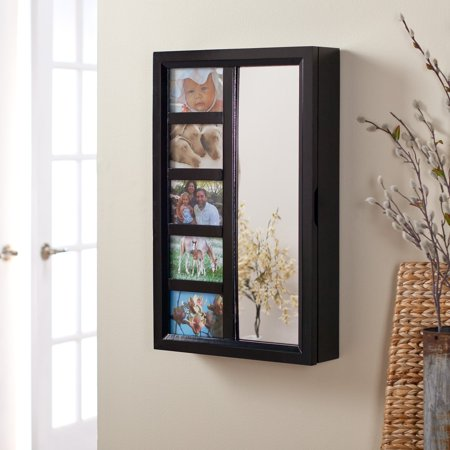 Photo Frames Wall Mount Jewelry Armoire Mirror - High Gloss Black ...