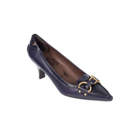 Car Shoe By Prada Dark Navy Leather Pointed Toe Buckle Pumps