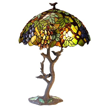 CHLOE Lighting 2 Light Tiffany-style featuring Leafs & Grapes Table Lamp Oval Shape 20