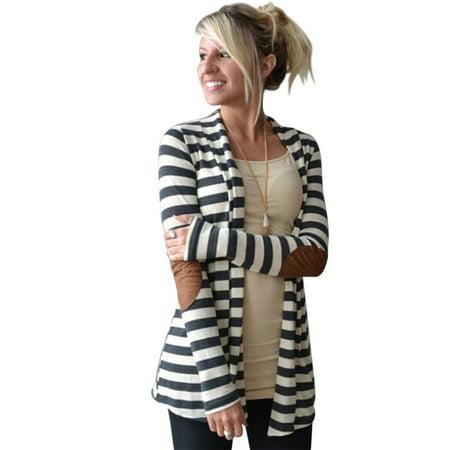 Women Winter Long Sleeve Casual Stripe Pattern Lady Cotton Coat Cardigan, S (Tiger Stripe Cotton Coat)