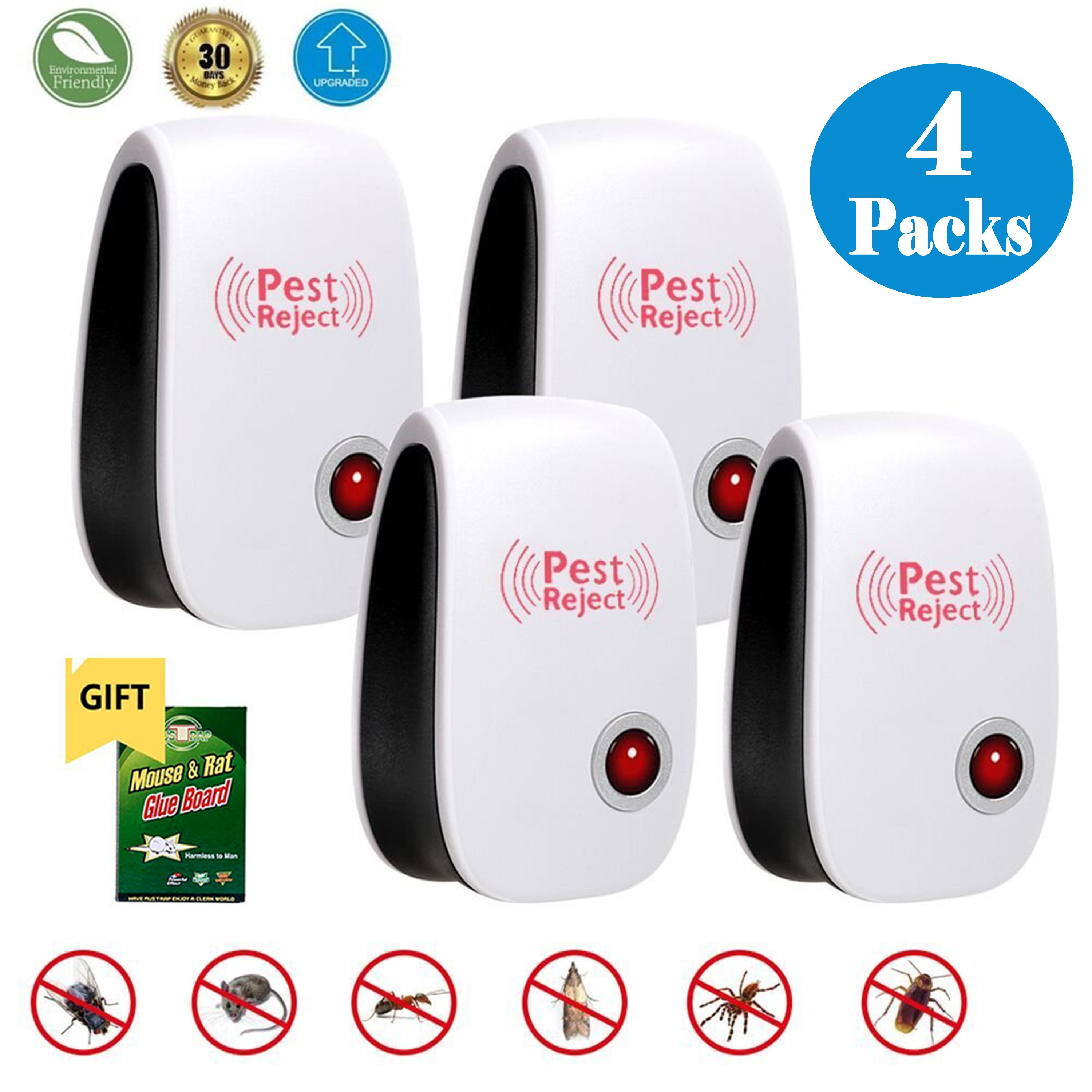 Ultrasonic Pest Repeller - 4 Pack Electronic Plug In Pest Control - Pest Reject for Mosquitoes, Mice, Ants, Roaches, Spiders, Flies, Bugs, Lizards, Non-toxic Eco-Friendly, Human & Pet Safe