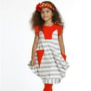Girls Silver White Stripes Dora Designer Spring Dress 7