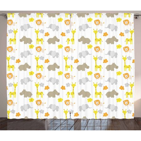 Nursery Curtains 2 Panels Set Baby Jungle Animals Elephants Lions Giraffes Hippopotamuses Nature Inspired Design Window D For Living Room