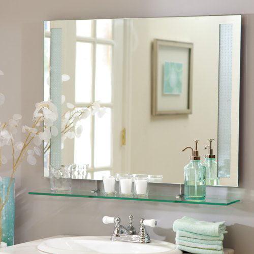 Décor Wonderland Frameless Roxi Wall Mirror with Shelf - 31.5W x 23.6H in.