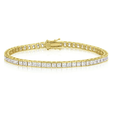 Cubic Zirconia Tennis Bracelet Gold Plated 3mm Square Cut 7.25 inch - Gold Plated Tennis Bracelet