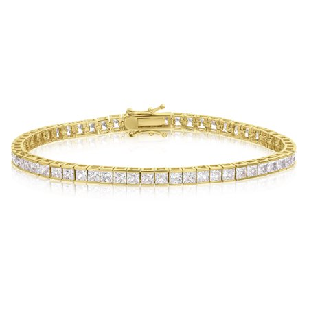 Cubic Zirconia Tennis Bracelet Gold Plated 3mm Square Cut 7.25 inch