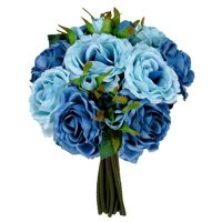 Admired By Nature 12 Stems Artificial Rose Bouquets, Sky Blue