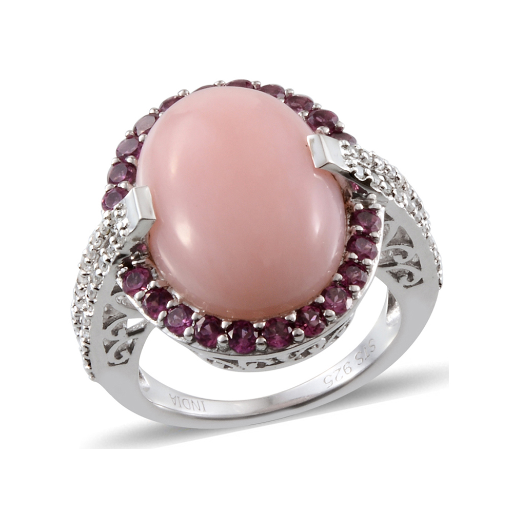 Pink Opal Multi Gemstone Platinum Plated Sterling Silver Ring by Shop LC