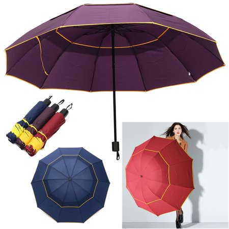 LARGE Folding Rain Umbrella Anti-UV Windproof Big Oversized For Men