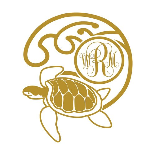Harriet Bee Turtle Monogram Bedroom Wall Decal