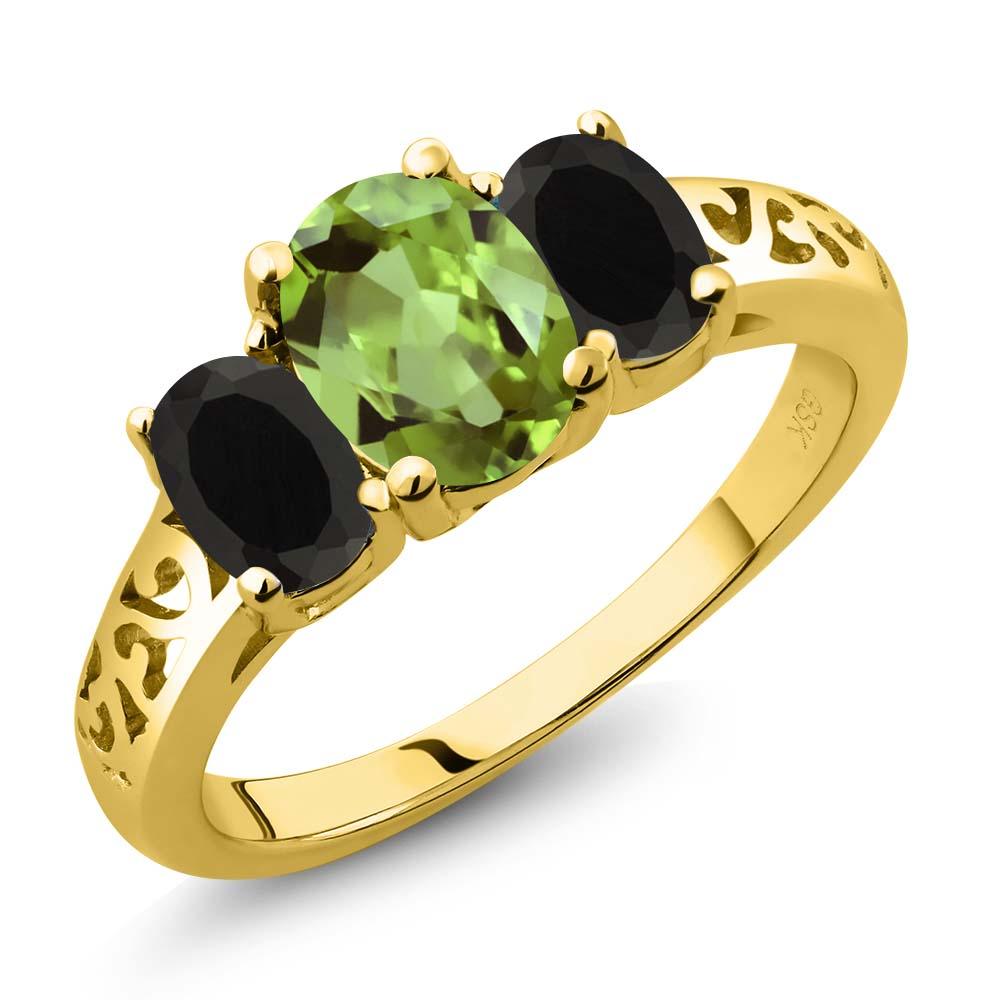 2.11 Ct Oval Green Peridot Black Onyx 18K Yellow Gold Plated Silver 3-Stone Ring