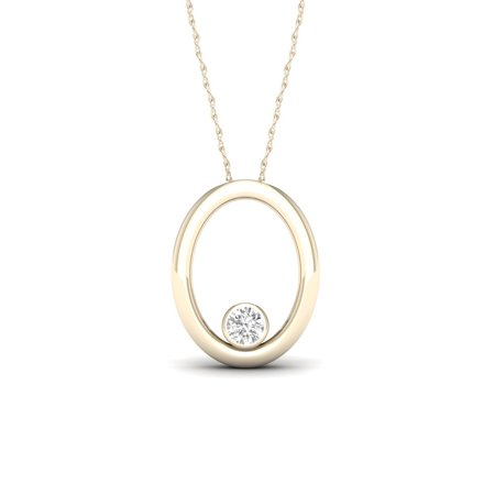 10k Gold Solitaire (1/20Ct TDW Diamond 10K Yellow Gold Solitaire Necklace (I-J, I2))