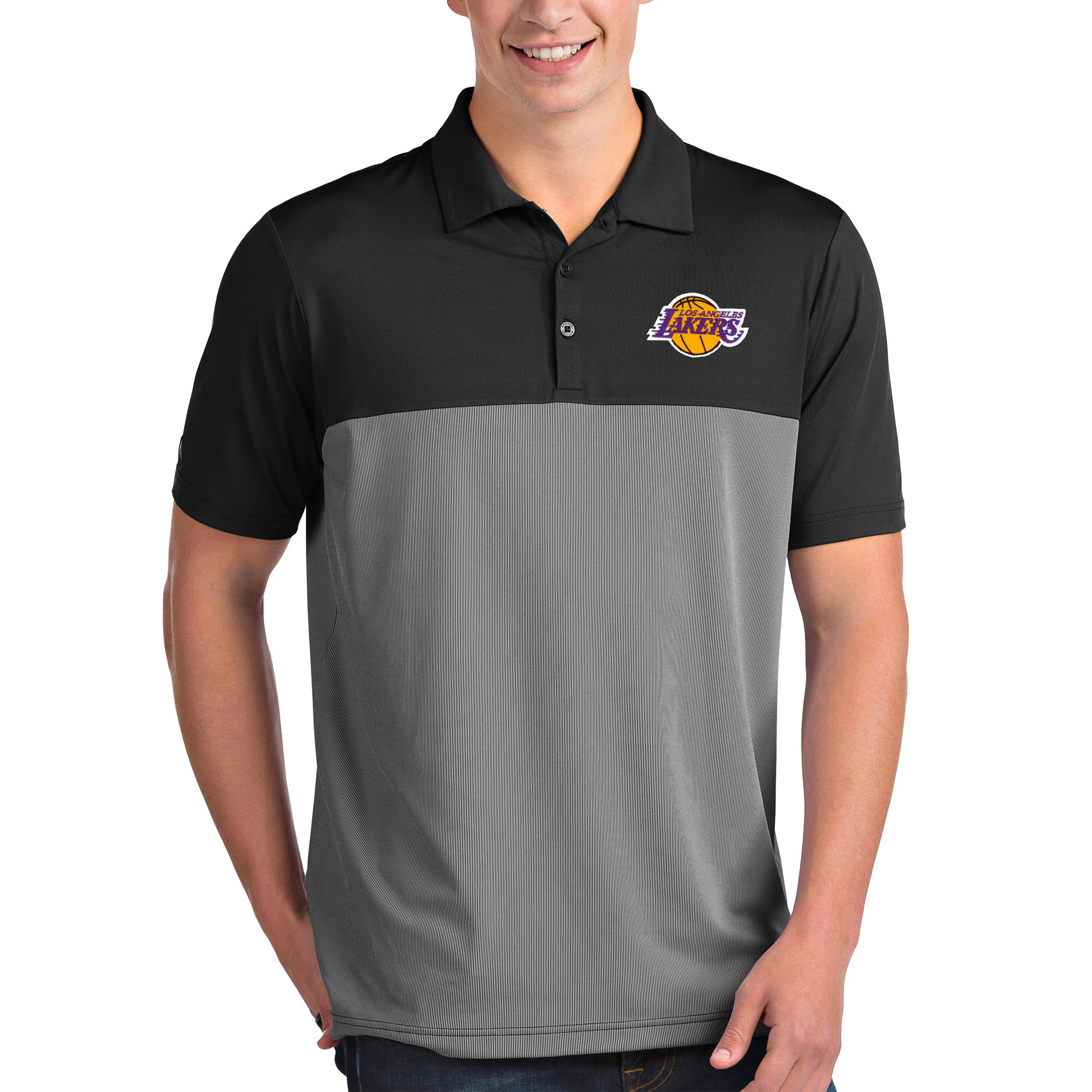 Los Angeles Lakers Antigua Venture Polo - Black/White