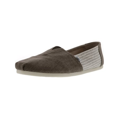 Toms Men's Classic Coated Linen Toffee Stripe Canvas Slip-On Shoes - 11.5M