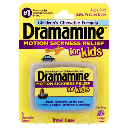 Dramamine Chewable Motion Sickness Relief for Kids, Grape, 8