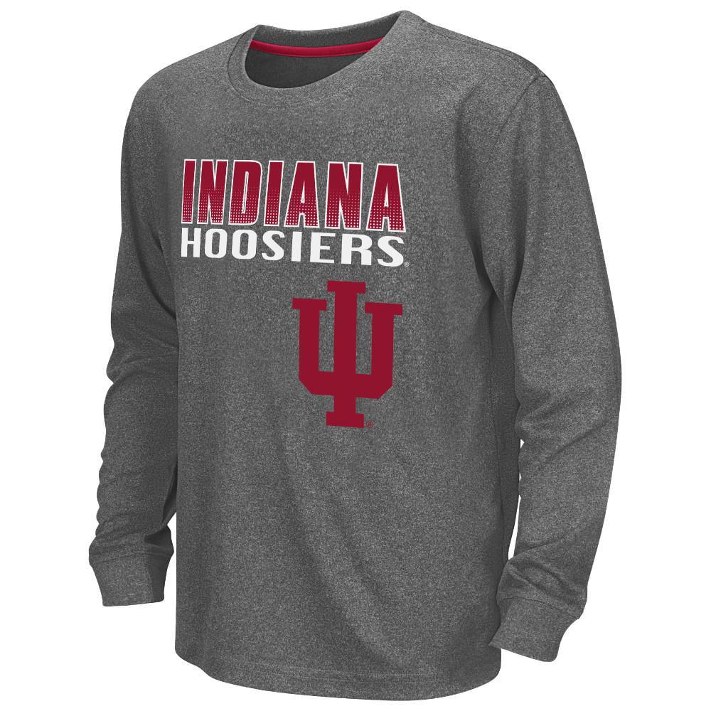 Youth NCAA Indiana Hoosiers Long Sleeve Tee Shirt (Heather Charcoal)