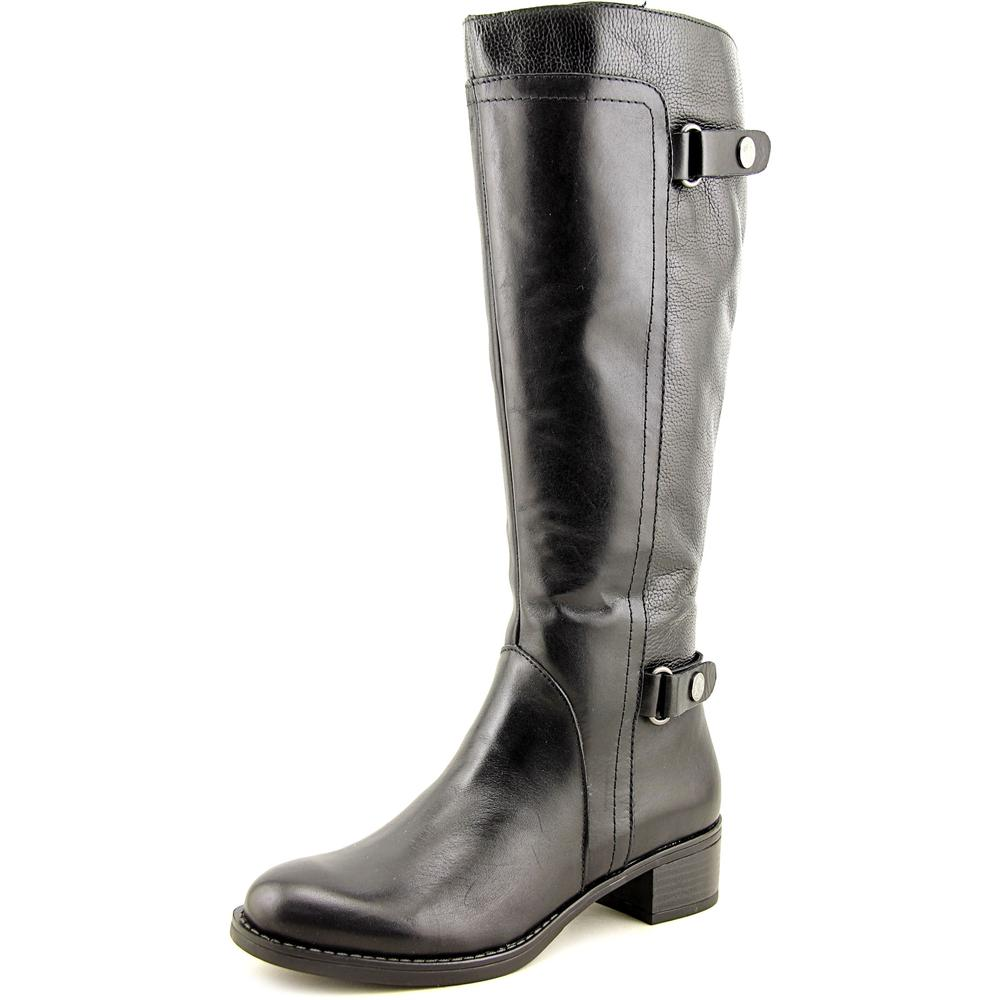 Franco Sarto Crash wide calf Women Round Toe Leather Black Knee High Boot by Franco Sarto