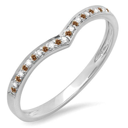 0.10 Carat (ctw) 10k White Gold Round Real Champagne & White Diamond Ladies Wedding Stackable Band Anniversary Guard Che