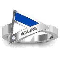 Toronto Blue Jays Bixler's Women's Engraved Diamond Geometric Ring - Blue/White