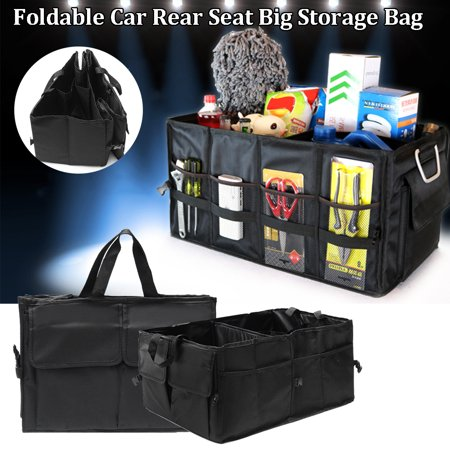 Foldable Auto Trunk Storage Organizer Bin with Pockets , Portable Cargo Carrier Caddy for Car Truck SUV Van Auto Back Rear Trunk Storage Bag Reserve Box