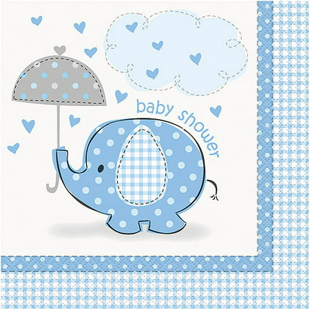 Elephant Baby Shower Napkins 65 In Blue 16ct Walmart