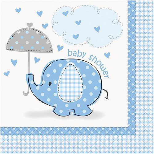Blue Elephant Baby Shower Paper Napkins 6 5in 16ct Walmart Com Walmart Com