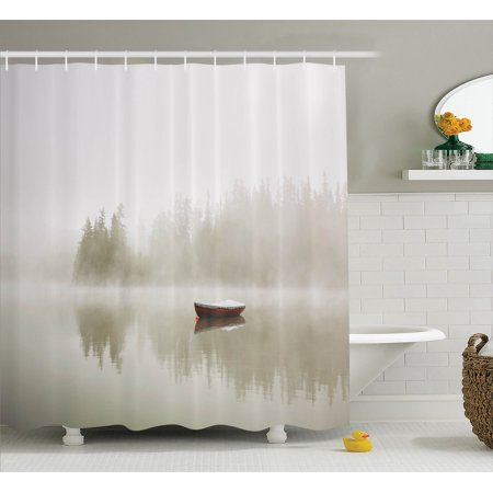 Lake House Decor Shower Curtain Set, Boat On The Lake With The Silhouette Of Trees On The Water Morning Fog Sky Nature Art Photo, Bathroom Accessories, 69W X 70L Inches, -
