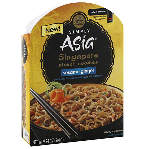 Simply Asia Asian Creations Singapore Street Sesame Ginger Noodle Bowl, 9.24 oz, (Pack of 6)