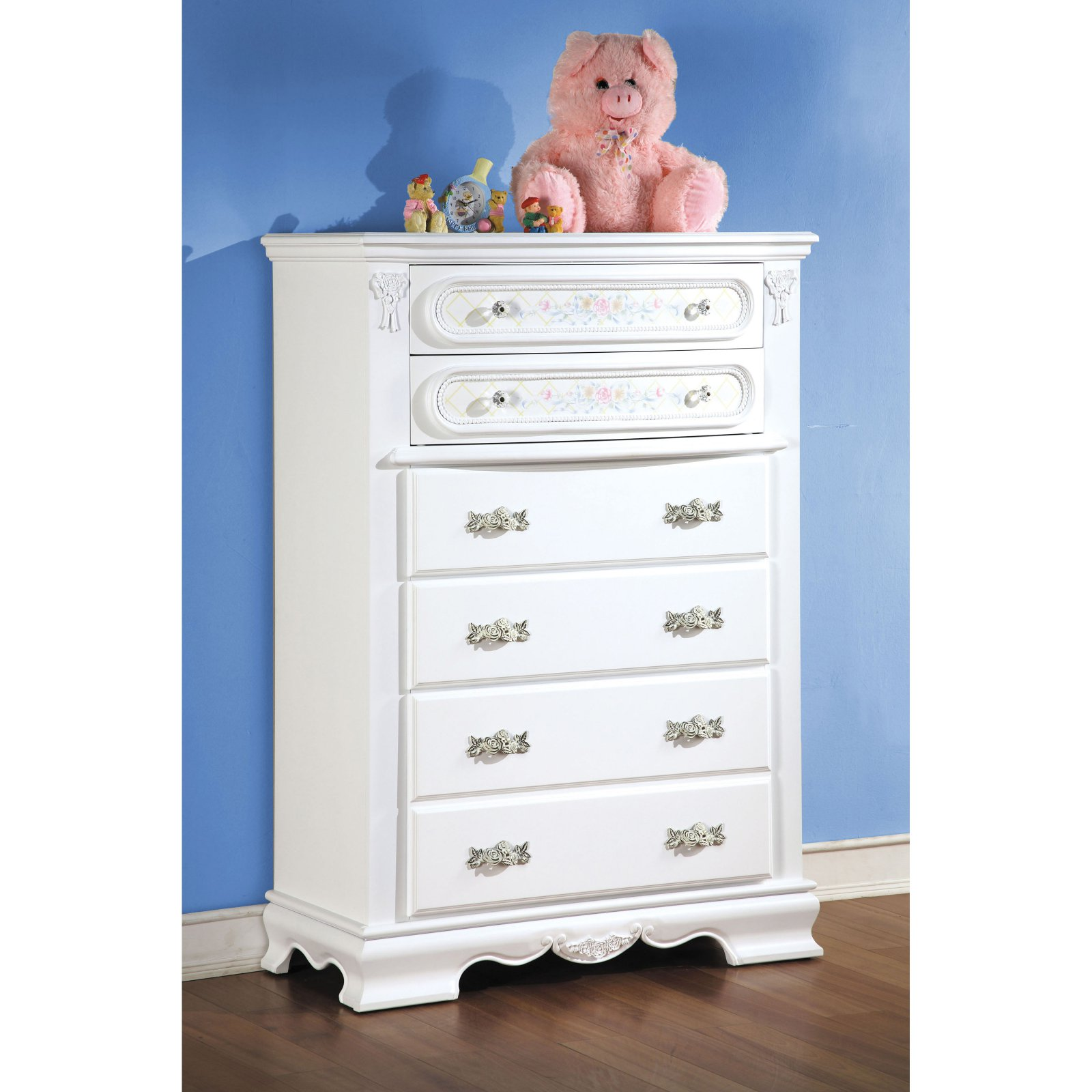 Acme Furniture Flora White Chest with Five Drawers