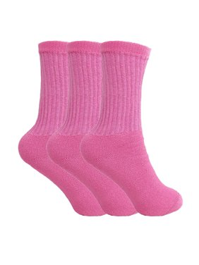Cotton Crew Socks for Women White Made in USA 3 PAIRS Size 9-11