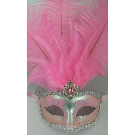 Light Pink Silver Venetian Mask Feather Masquerade Mardi Gras 12