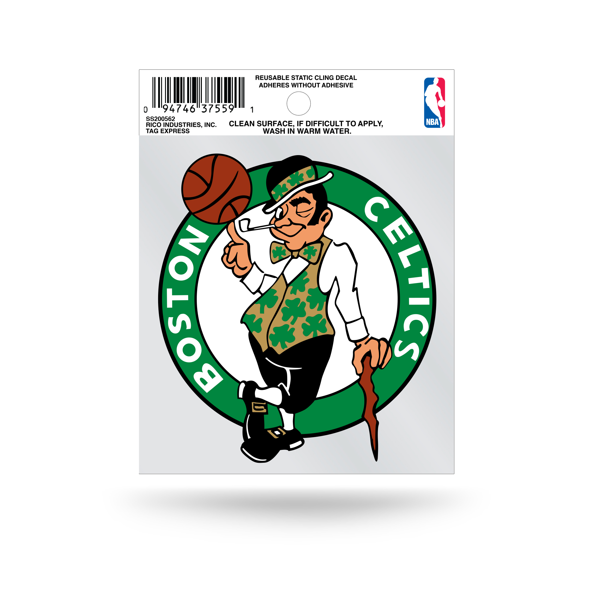 Boston Celtics Official NBA 3.5 inch  Small Static Cling Window Car Decal by Rico