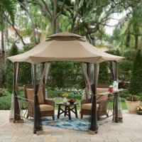 Better Homes & Gardens Southern Pines 12ft Hexagon Gazebo with Curtains