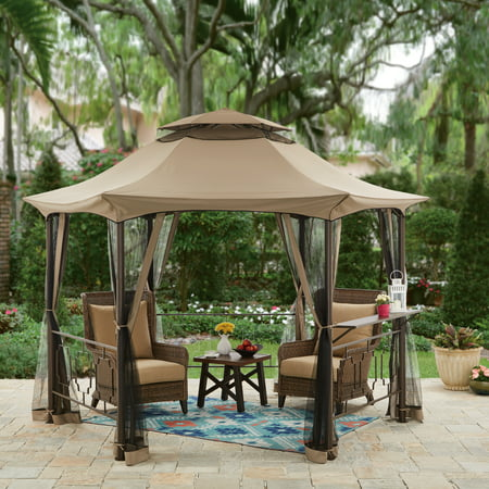 Better Homes & Gardens Southern Pines 12' Hexagon Gazebo with Curtains (10 Hexagon Gazebo)