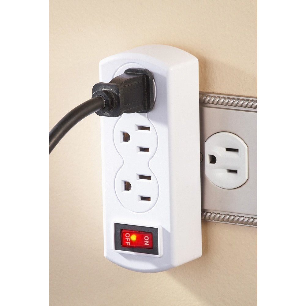 Triple Plug Outlet Adapter On  Off Switch Grounded Wall Tap
