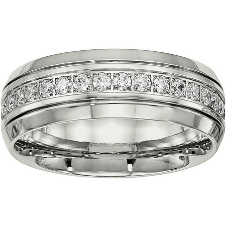 - Primal Steel Primal Steel Stainless Steel Polished Half Round Grooved CZ Ring