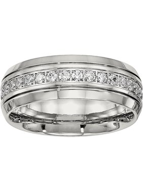 Primal Steel Stainless Steel Polished Half Round Grooved Cubic Zirconia Ring