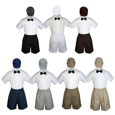 4pc Set Boy Toddler Formal Black Bow Tie White Gray Navy Khaki Shorts + Hat (Cute Outfits With Black Leggings And Brown Boots)