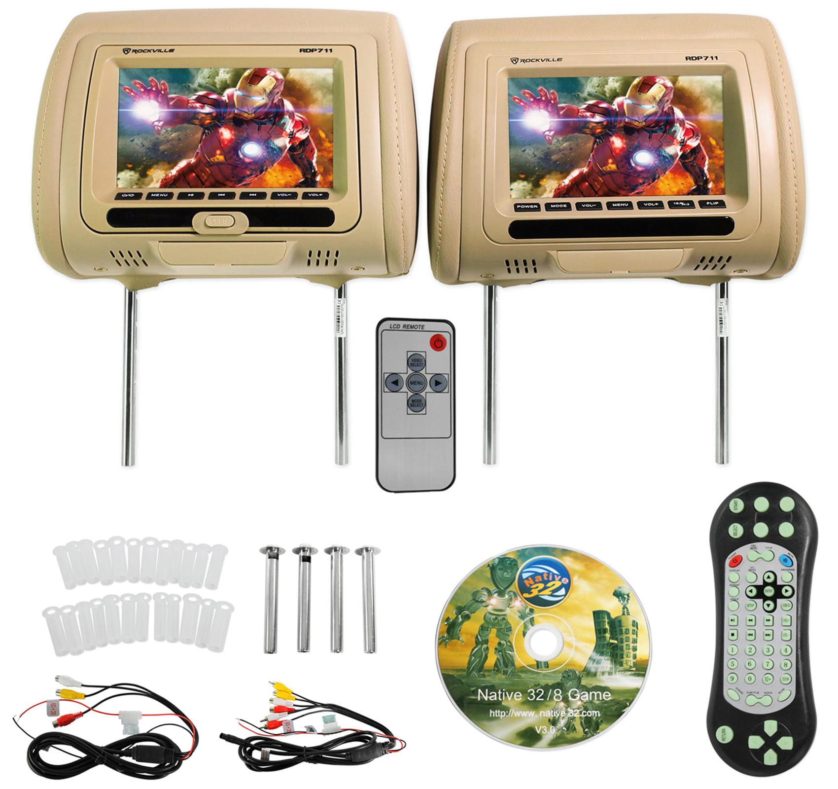 "Rockville RDP711-BG 7"" Beige Car Headrest Monitors w/DVD ..."