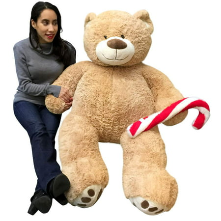 Christmas Big Plush Giant Teddy Bear 5 Foot Tan Soft Holding Plush Candy Cane