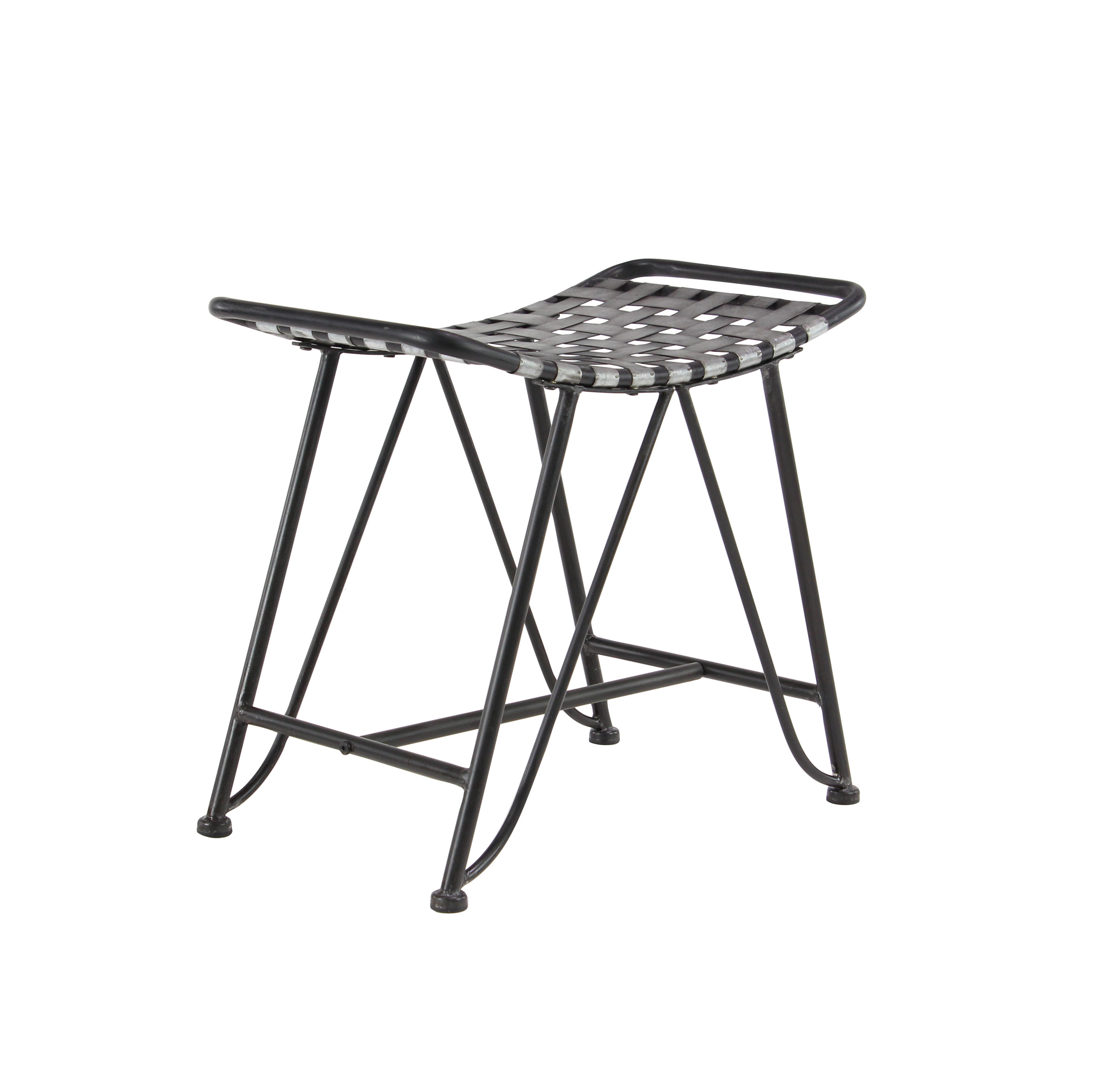 Decmode Industrial 21 X 24 Inch Gray Iron Woven Stool