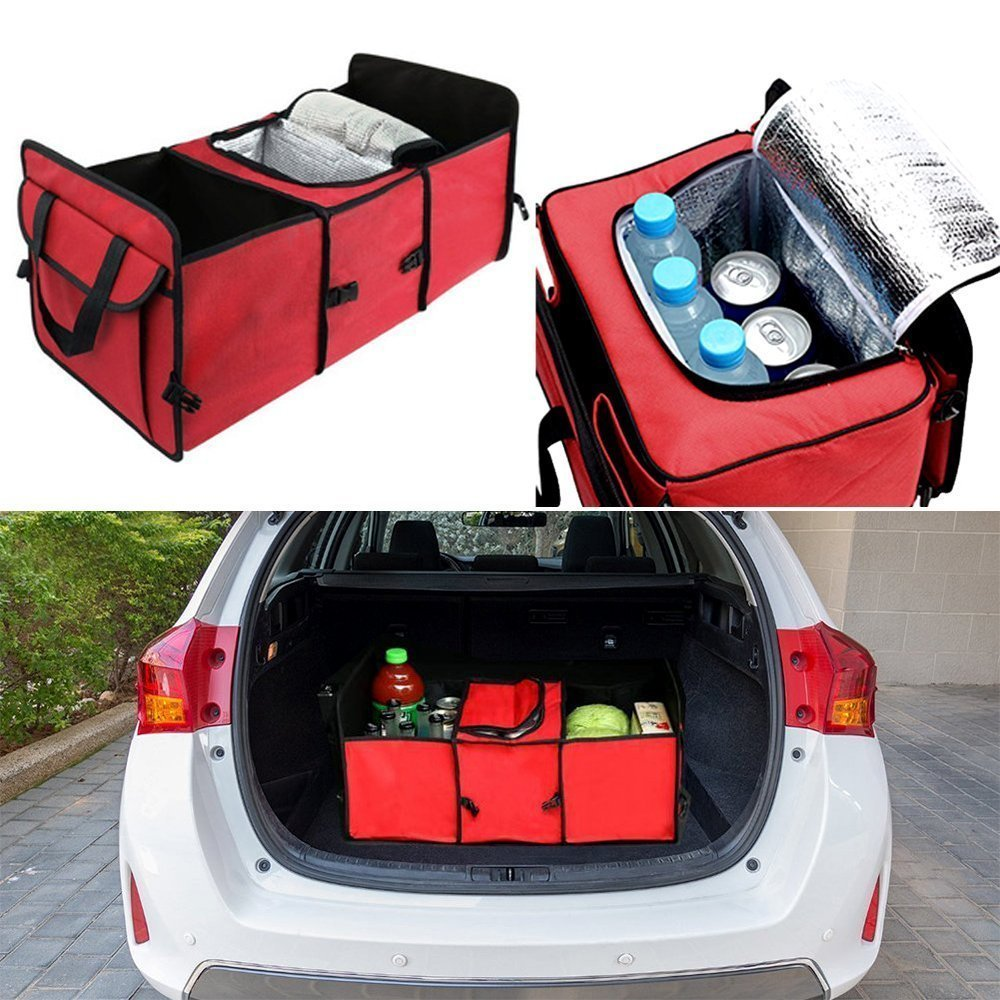 Car Trunk Storage Organizer Collapsible Cargo Storage Box with Insulated Cooler Compartment Multipurpose for Vehicle Car SUV Trunk