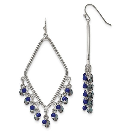 Silver-tone Sodalite & Blue Crystals Diamond Shaped Dangle